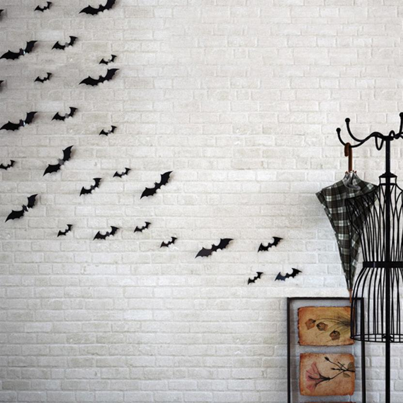 Hot selling New! Arrival 12pcs Black 3D DIY PVC Bat Wall Sticker Decal Home Halloween Decoration(China (Mainland))