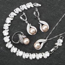 נשים תלבושות סטי תכשיטים לבנים מים מתוקים הטבעי פרל 925 כסף צמידי זירקון תליון & שרשרת טבעות עגילי קופסא מתנה(China)