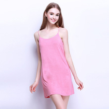 2016 Summer Female Lounge Nightdress O-neck Modal Strap Sleepwear Sexy Women's Nighty Sleeveless Sleepshirt For Free Shipping