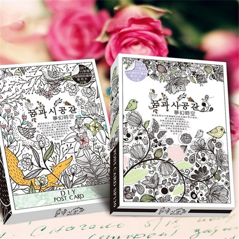 32 Sheets Coloring Postcard Tintage Postcards For Adult