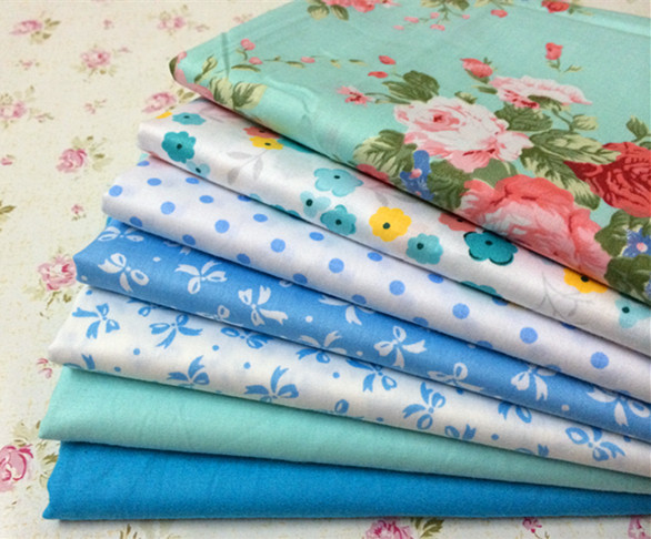 Baby blue rose 100 cotton patchwork fabric sewing for Cotton sewing material