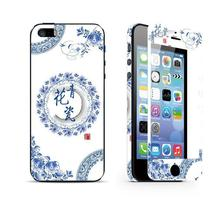 Blue and white porcelain sticker for iphone 5 5s Tempered Glass font b Screen b font