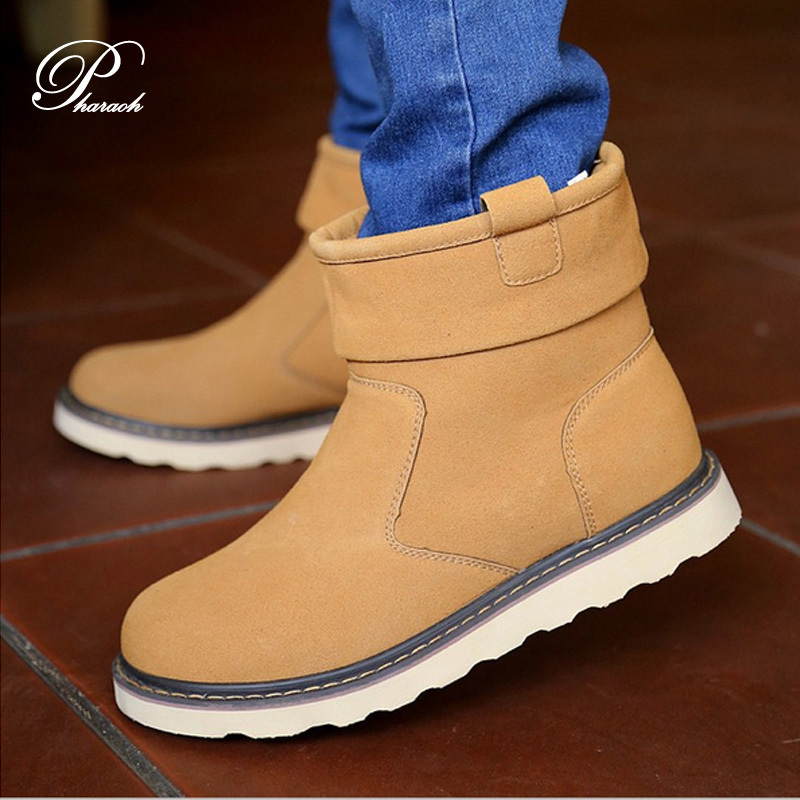 casual winter ankle boots mens suede boots flat heels