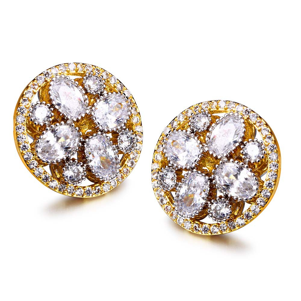 Round stud earrings Gold and white plate micro pave setting with cubic zirconia New stud Earrings with Stones Fashion(China (Mainland))