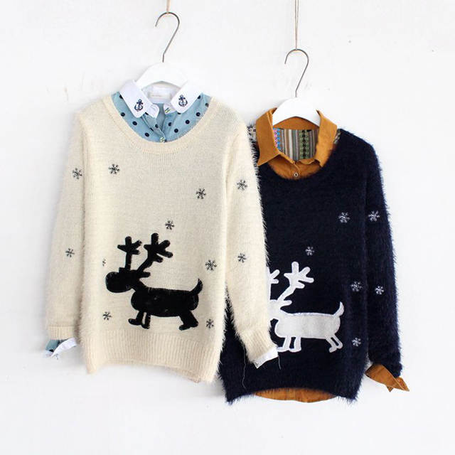 2017 Autumn Winter Reindeer Sweater Women's Long Sleeve Christmas Sweaters Casual Loose Knitted Snowflake Camisola Feminina