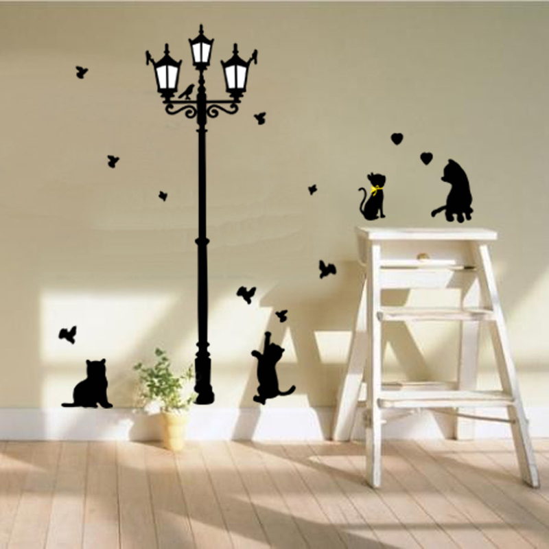 Cats Birds Street Light Lamp Patterns Wall Stickers Home Decorative Vinyl Wall Decals Children's Rooms 3D Wall Sticker For Baby(China (Mainland))