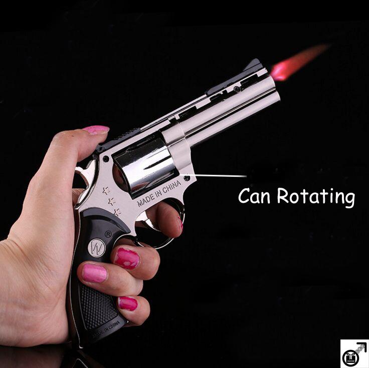 Promotions New Metal Pistol Cigarette Lighter M9 Simulation Model Prop Ornaments Revolver Lighter Can Rotating Gun Gift L007(China (Mainland))