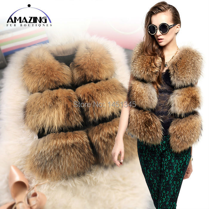 2014 Female Real Fur vest Natural Raccoon s Casual Elegant Lady Sleeves Waistcoats Gilet Women Warm Winter Outwear - Amazing Boutique store