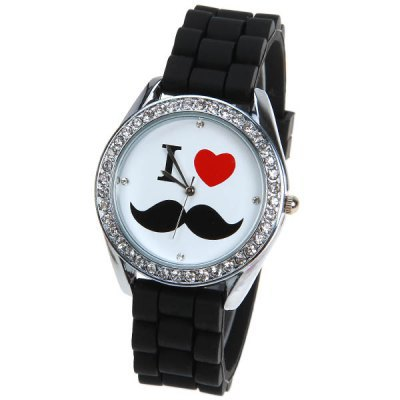 free drop shipping retail new fashion hot sales black Heart-shaped beard drill women quartz silicone wristWatch - shen zhen children toys trade export co., LTD store