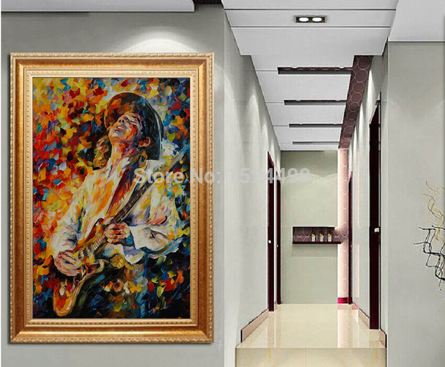 100%hand painted guitarist music oil painting thick textured ...