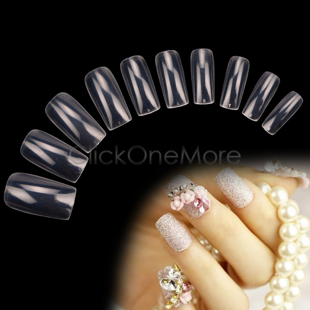 500 X False Acrylic Clear French Nail Art Tips Manicure UV Gel 5502770(China (Mainland))