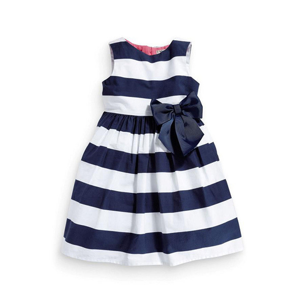 Baby Kid Girls One Piece Dress Blue White Striped Bow Summer Tutu Dress 1-5Y(China (Mainland))