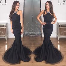 2015 New Arrival Black Mermaid Prom Dress Elegant Halter Sleeveless Beaded Crystal Floor Length Satin Long Prom Dresses 2015(China (Mainland))