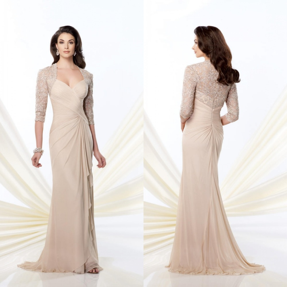 New arrival sheath floor length chiffon draped evening for Wedding dresses with three quarter length sleeves