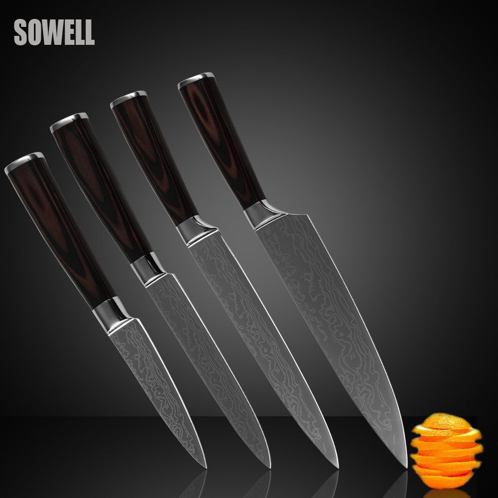 Buy Stainless steel knives set 3.5 inch paring 5 inch utility 8 inch slicing chef kitchen knives beautiful gift sharp cooking knives cheap