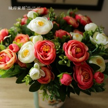 6 Branches artificial peony bouquet  Home Party Artificial Silk Flower Decorative Flowers Bouquet  Peony flower For Wedding(China (Mainland))