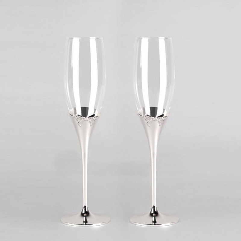 Fashion Shiny Silver plated champagne glass flutes with bow red wine glasses for wedding/party brandy goblet cup taza de vidrio(China (Mainland))