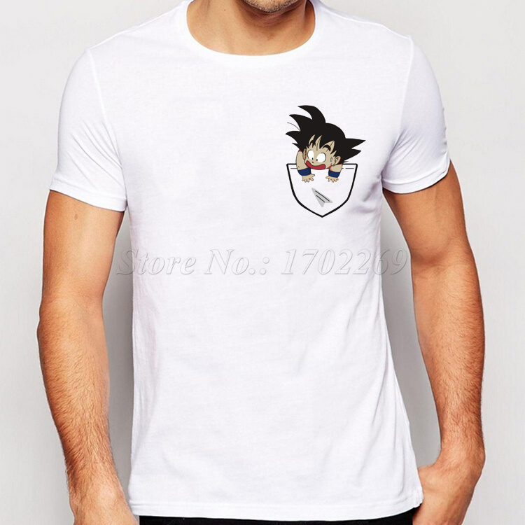 2016 New Fashion Son Goku In My Pocket Design Men T Shirt
