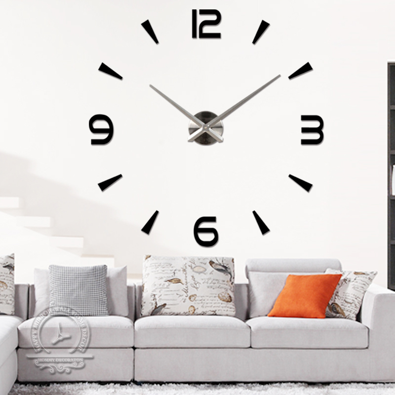 2015Fashion 3D big size mirror wall clock DIY modern design brief living room acrylic large home decor - Home Decorations-Factory store