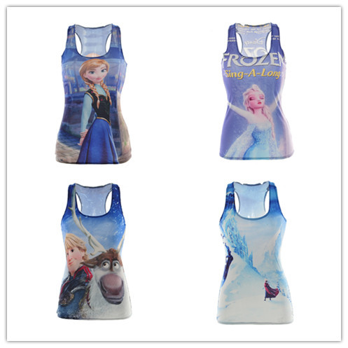 New Cartoon Prince and Princess vest 3D digital printing Women casual stretch sheath slim gym sport girl clothing Free shipping(China (Mainland))