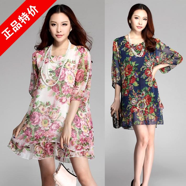 3XL~6XL 2014 Summer Women Plus Size 4XL 5XL Elegant Peony Floral Print Half Sleeve Chiffon Cool Loose Short Straight Dresses - Yagle Fashion Center Co., Ltd store
