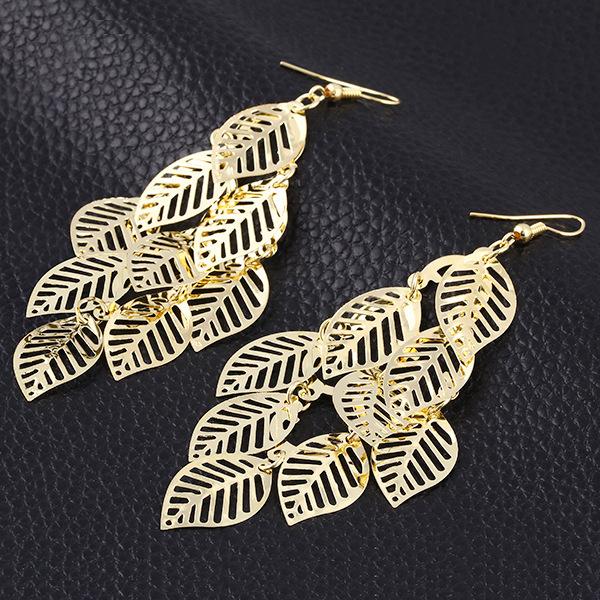 Noble Vintage Leaf Earring 2015 New Design Bohemian Hollow Dangle Drop Earrings Charm Jewelry Women Hot QianBian - qianbian (min order $8 store)