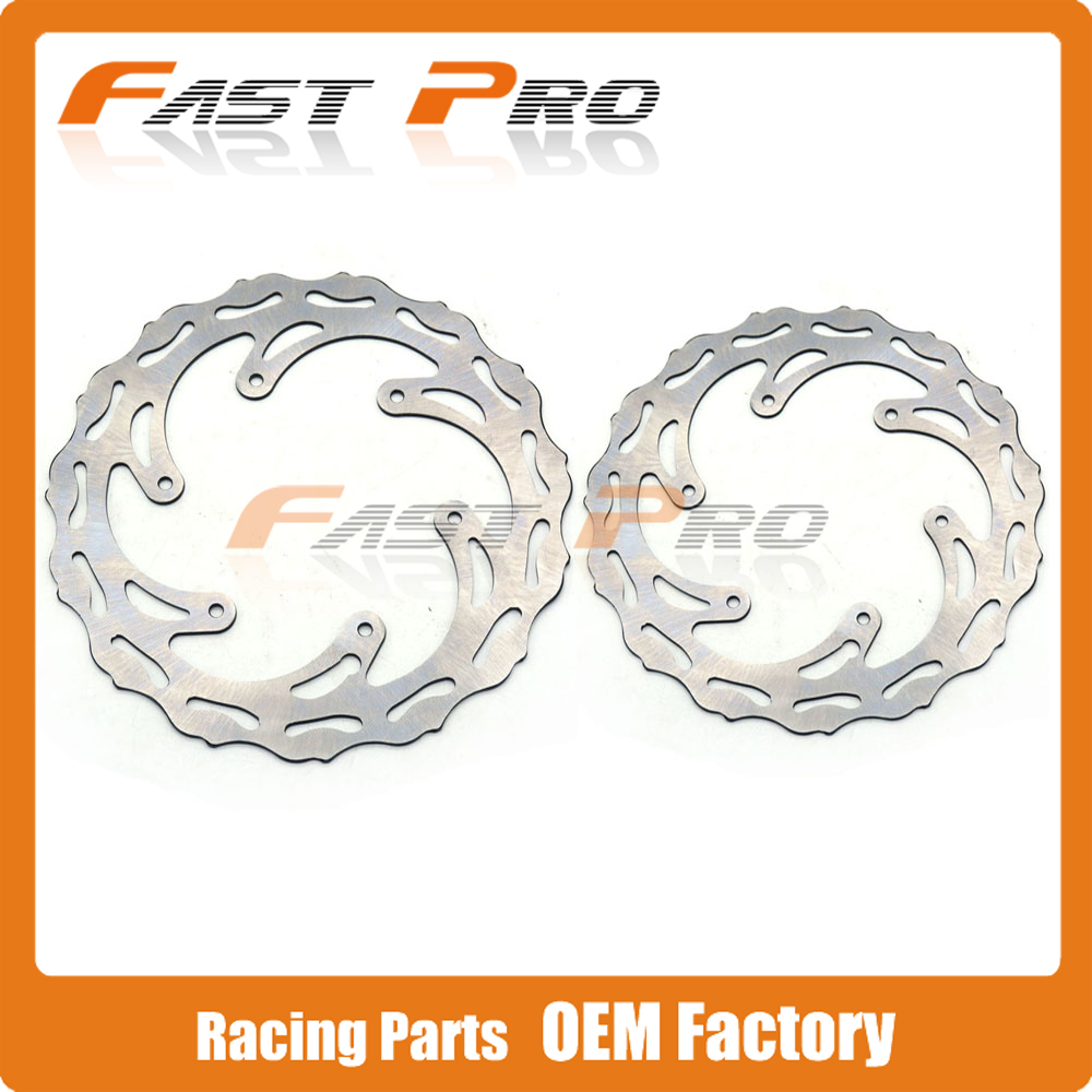 Front Rear Wavy Brake Disc Rotor Set Husaberg Motocross Enduro Models MX Racing Road Motorcycle Dirt Bike - Fast Pro racing store