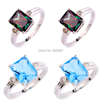 Wholesale New Charming Uuisex Jewelry Emerald Cut Rainbow Topaz & Blue Sapphire 925 Silver Ring Size 6 7 8 9 10 Free Shipping
