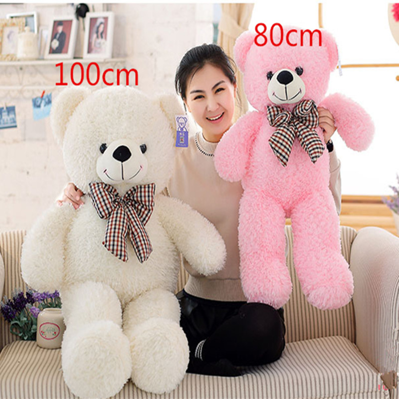High Quality Big 60,80,100cm Giant Teddy Bear Plush Toys Stuffed Teddy Cheap Pirce Gifts for Kids Girlfriends(China (Mainland))