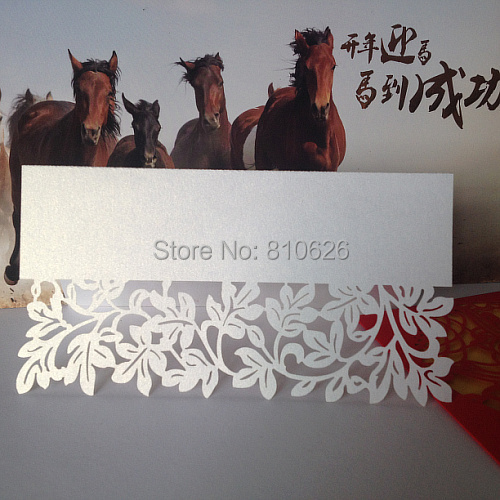 Sample Order 10pcs Laser cut Rattan Leaves Weding Place Card on Table in Size15*12cm in Pearlescent White wedding decoration(China (Mainland))