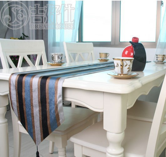 Factory outlets fashion classic stripe plush home fashion creative table runner table runner custom wholesale(China (Mainland))