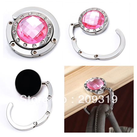 Light Pink Crystal Surrounded By Diamonds Foldup Hand Bag Purse Hook Hanger