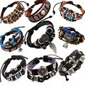 Vintage rope leather mens bracelets leather rope hand woven bracelet for men rope braided bracelet male