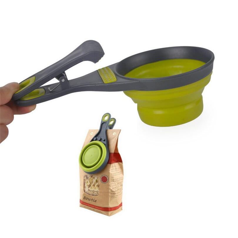 Folding silicone pet bowl,Multi-function folding measuring spoon, Can clip food bags,Water bowl measuring cup,Dog food scoop(China (Mainland))