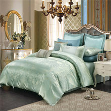 New Jacquard Luxury Wedding 4pcs Bedding Set Bed Linen Silk Cotton blue Duvet quilts Cover Lace Satin Bed Sheet Set Pillowcases(China)