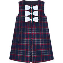 Платье для девочек клетчатое платье трапециевидной формы с галстуком-бабочкой; школьная форма из хлопка; коллекция 2019 года; летние платья п...(China)