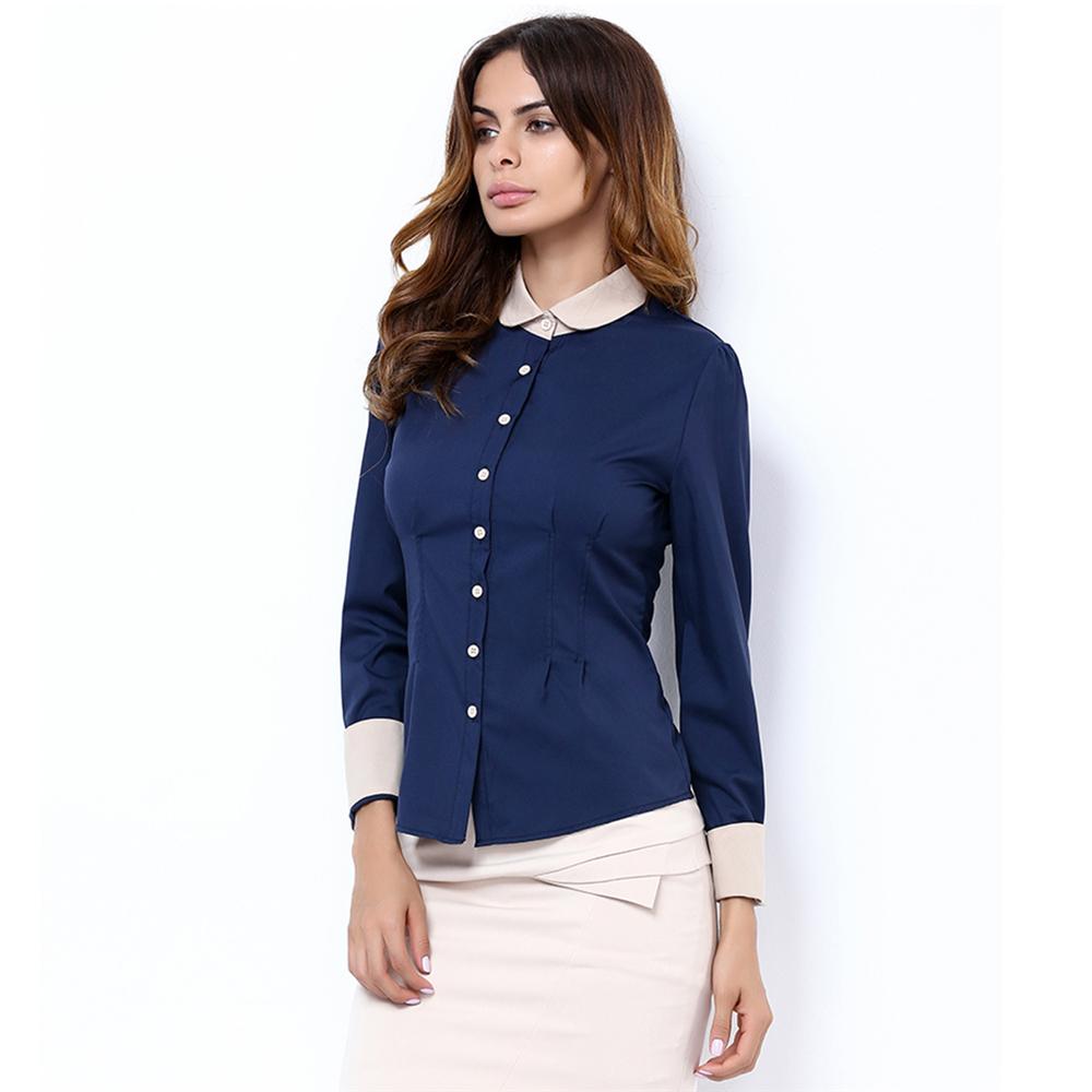 2016 autumn long sleeve blouse shirt black white casual for Black long sleeve work shirt