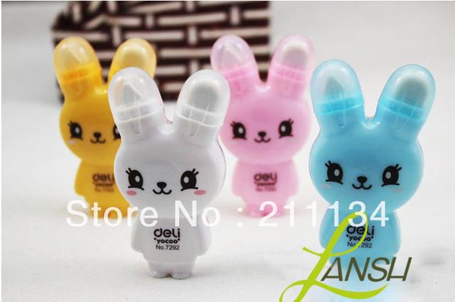 Cartoon Rabbit Style Correction Tape And Eraser Set Cute Correction Tape Stationery Tape Rubber Eraser 24pcs/lot FREE SHIPPING