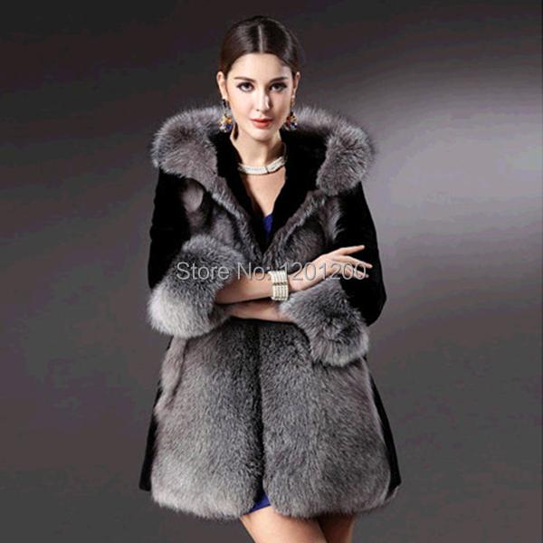 Brand newWinter Womens Hooded Jacket Fox Faux Fur Outwear Long Parka Sleeve Coat
