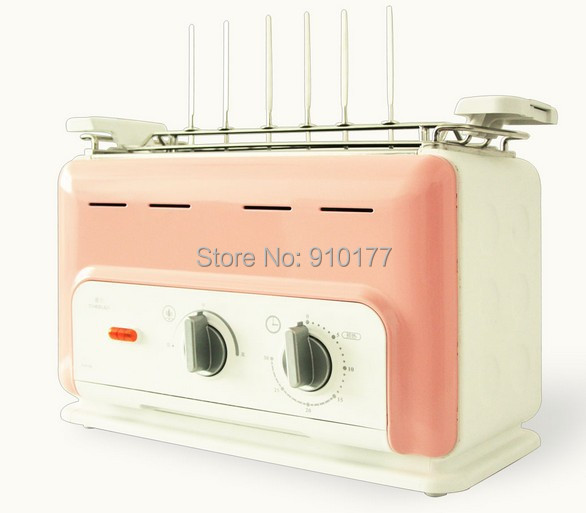 portable stainless steel vertical smokeless electric barbecue mini bbq grill home indoor, with steel grill pan pink 035(China (Mainland))