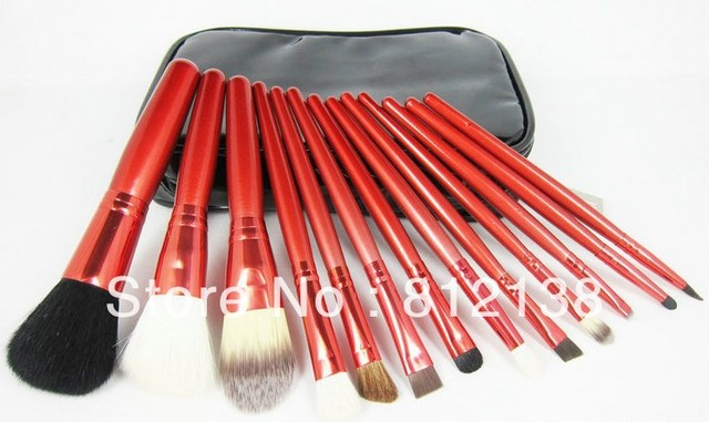 Free shipping  high quality  goat hair Make up Brush 13PCS  Set  With  pouch and mirror, M13PJB