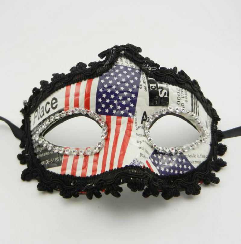 New American flag leather cloth Mask Halloween Upper Half Face Mask Masquerade Party Prop Venice Party Mask(China (Mainland))
