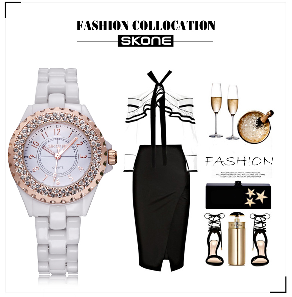 SKONE women Watches women top famous Brand Luxury Casual Quartz Watch female Ladies watches Women Wristwatches relogio feminino