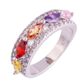 Wholesale Women Gems Fashion Handmade Jewelry AAA CZ Lab Pink  Topaz Silver 18K Gold Plated Ring Size 6 7 8 9 10 Free Shipping