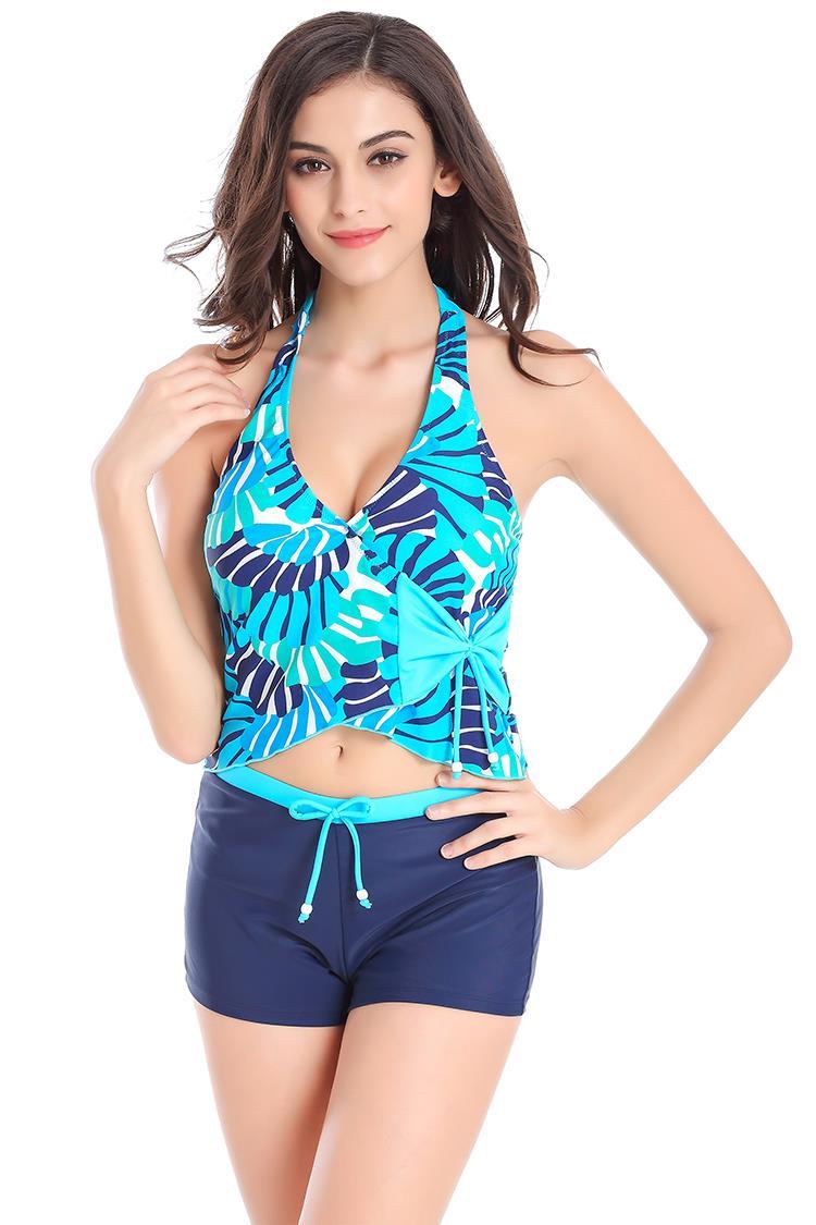 women blue tankinis set tropical style sleeveless two. Black Bedroom Furniture Sets. Home Design Ideas
