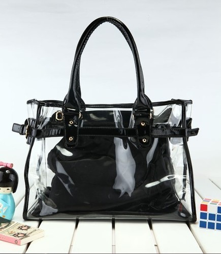 new fshion 5 Color Women Tote Hyaline jelly Bag, See Through Bag, Transparent Handbag SH free shipping(China (Mainland))