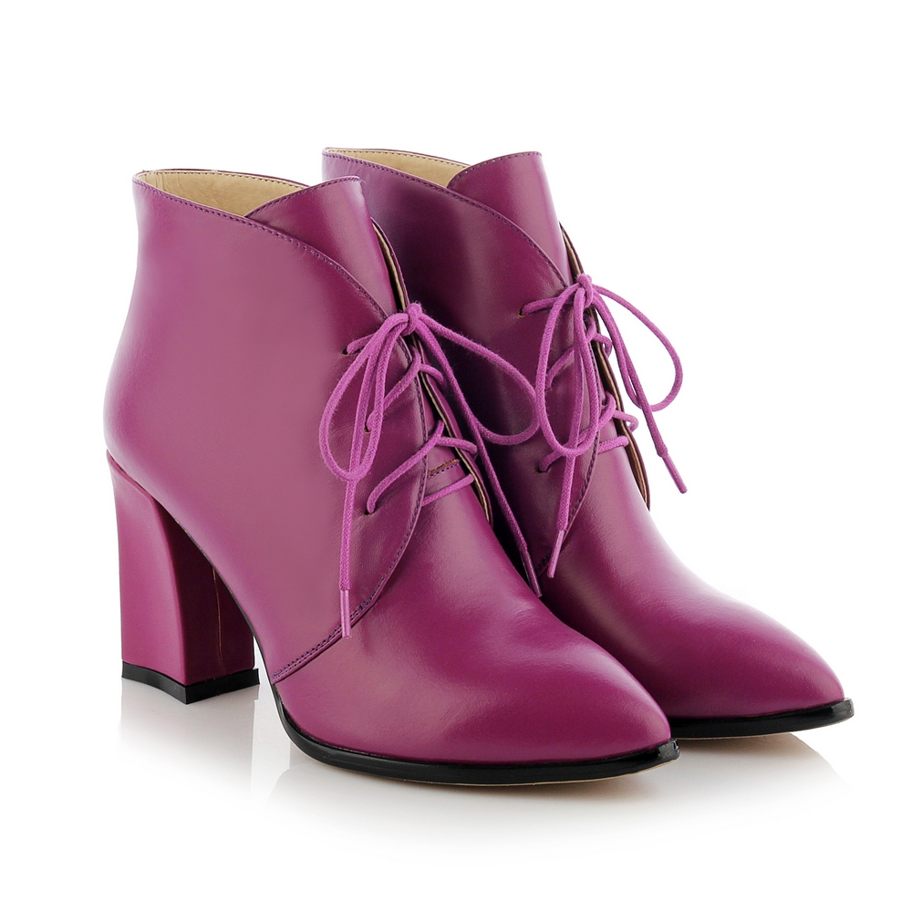 Hot Sale 2016 Women Fashion Dream Purple Lacing UP Pointed Toe Ankle Boots Aristocratic Ladies Party High Heel Ankle Boots A33-1<br><br>Aliexpress