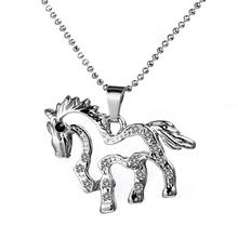 Buy Fashion Women Rhinestone Chain plating horse Crystal Necklace Pendant Jewelry Horse Charm chain link Necklace gift for $1.48 in AliExpress store