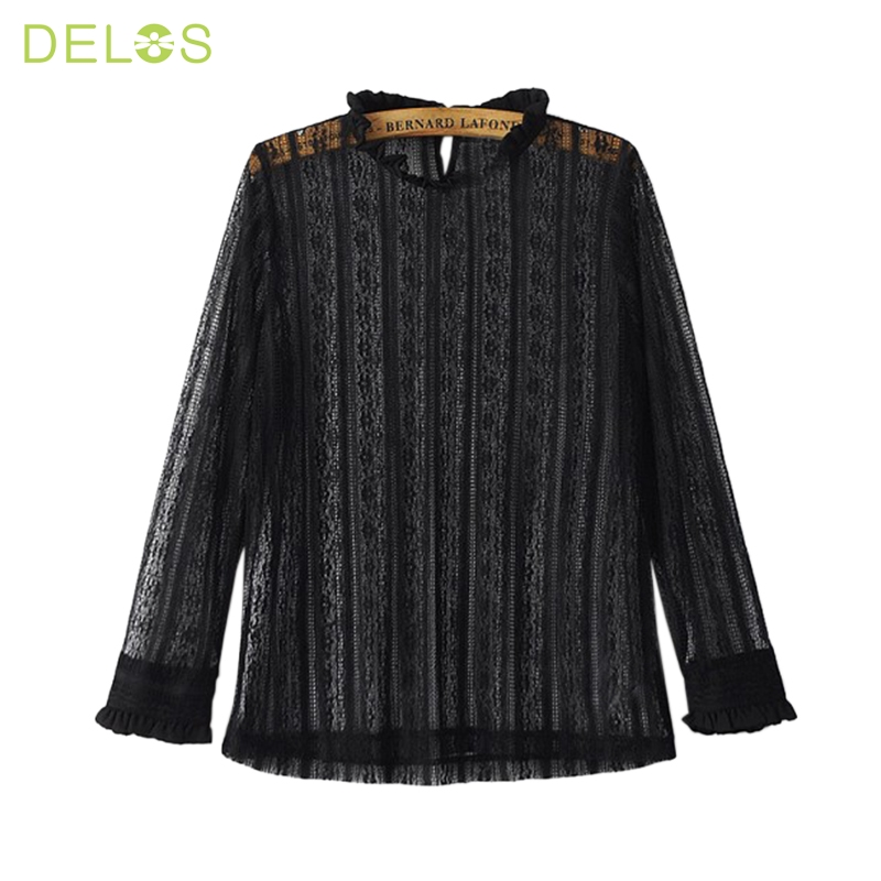 DELOS New Design 2016 Women Blusas Embroidery Crochet Lace Sleeve Hollow Out Blouses Casual Solid Tops O-Neck Shirt Plus Size(China (Mainland))