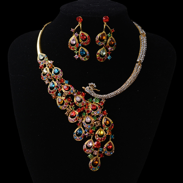New Fashion Gorgeous Multicolour Crystal Peacock Wedding jewelry sets red rhinestone jewelry sets for Women dress accessories